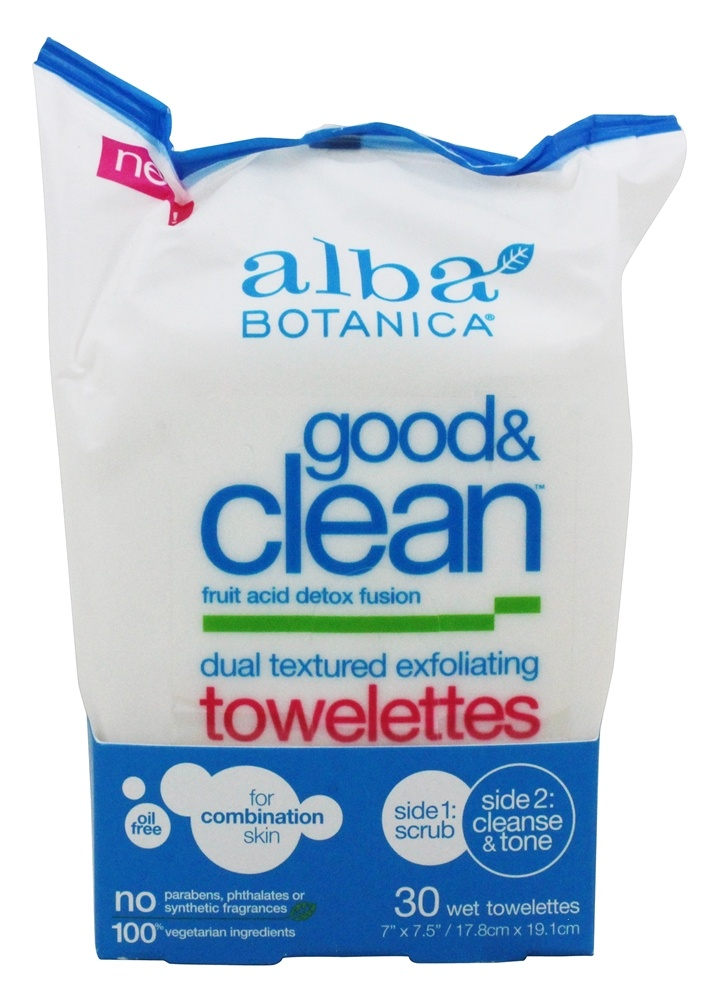 Alba Botanica - Good & Clean Exfoliating Towelettes Dual Textured - 30 Towelette(s)
