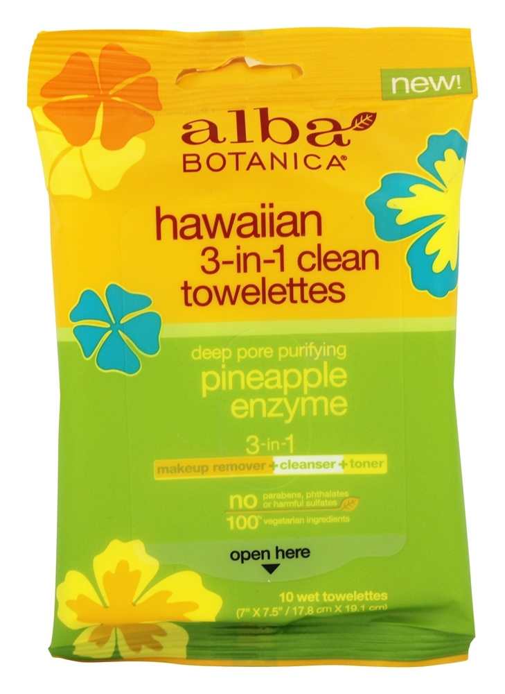 Alba Botanica - Hawaiian 3-In-1 Clean Towelettes Pineapple Enzyme - 10 Towelette(s)