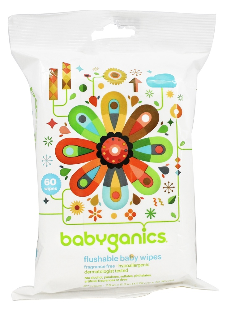 BabyGanics - Flushable Baby Wipes Fragrance Free - 60 Wipe(s)