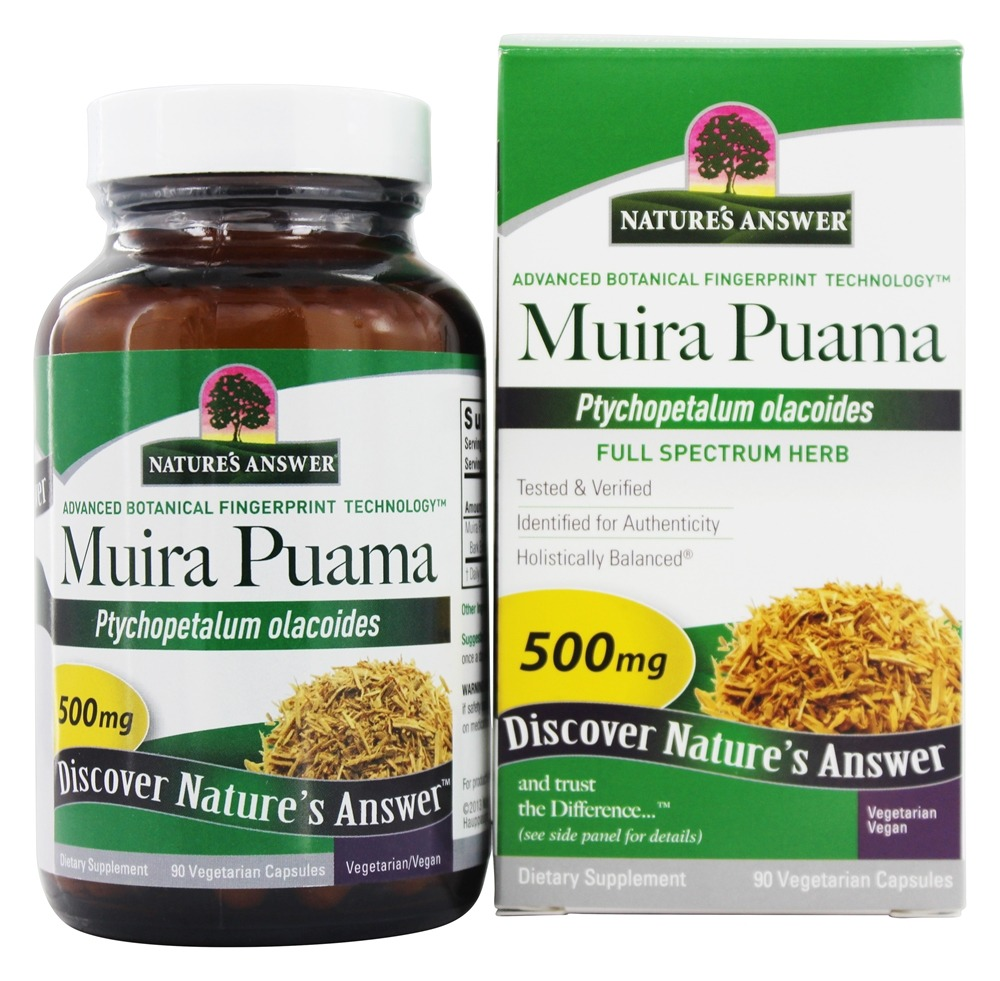 Nature's Answer - Muira Puama Bark Once Daily Single Herb Supplement - 90 Vegetarian Capsules