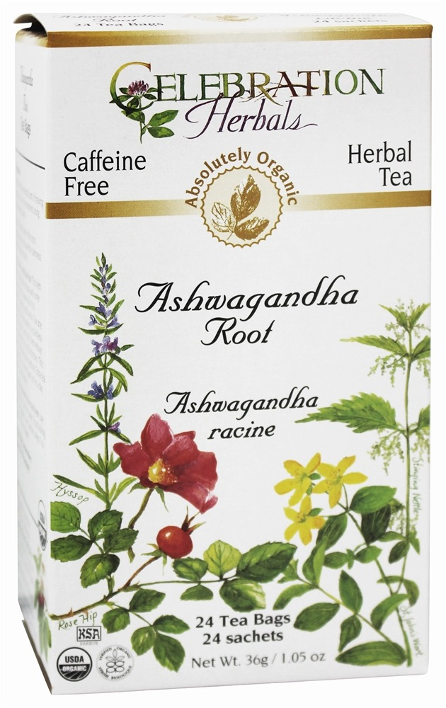 Celebration Herbals - Organic Caffeine Free Ashwagandha Root Herbal Tea - 24 Tea Bags