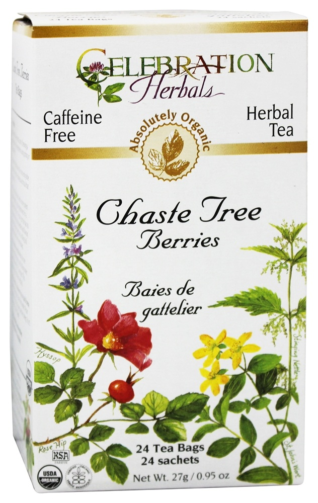 Celebration Herbals - Organic Caffeine Free Chaste Tree Berries Herbal Tea - 24 Tea Bags
