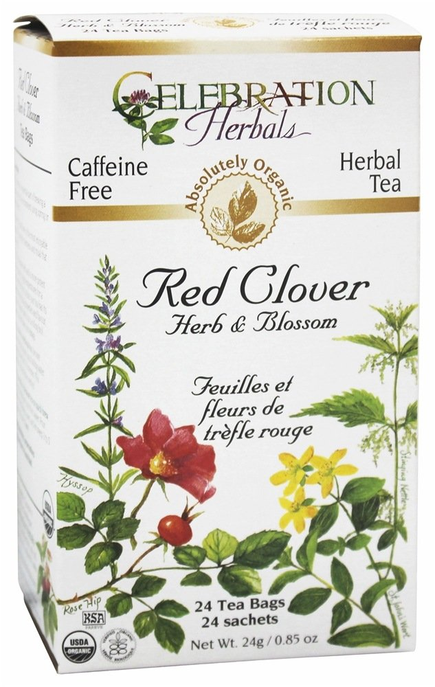 Celebration Herbals - Organic Caffeine Free Red Clover Herb & Blossom Herbal Tea - 24 Tea Bags