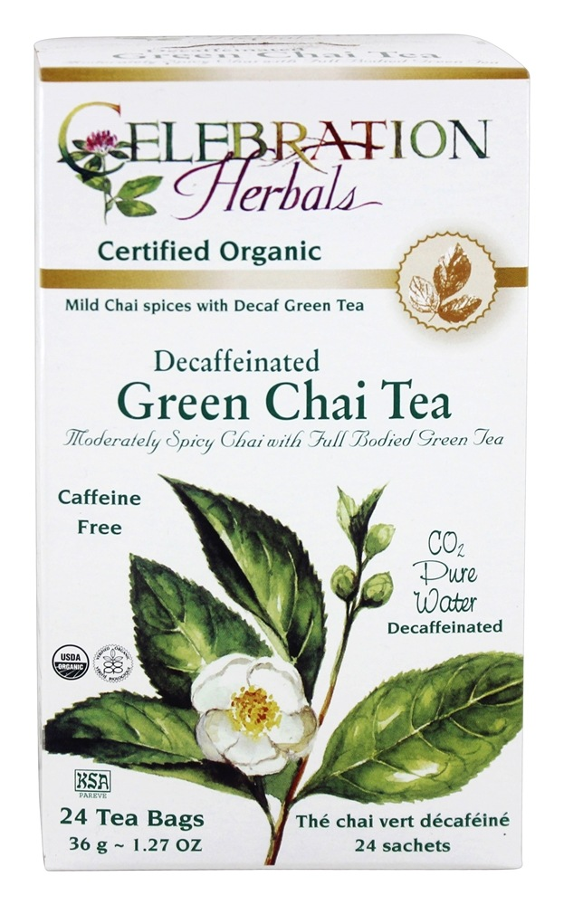 Celebration Herbals - Organic Decaffeinated Green Chai Tea - 24 Tea Bags