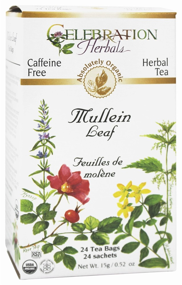 Celebration Herbals - Organic Caffeine Free Mullein Leaf Herbal Tea - 24 Tea Bags