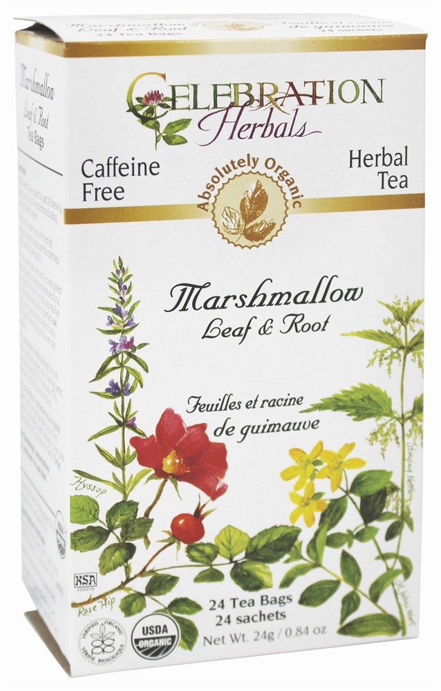 Celebration Herbals - Organic Caffeine Free Marshmallow Leaf & Root Herbal Tea - 24 Tea Bags