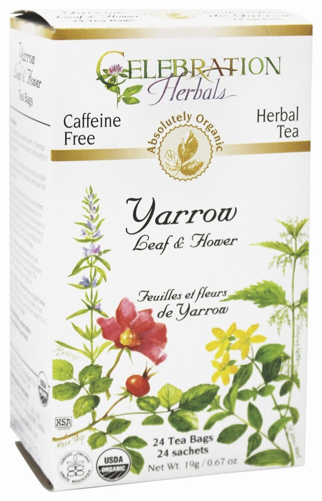 Celebration Herbals - Organic Caffeine Yarrow Leaf & Flower Herbal Tea - 24 Tea Bags