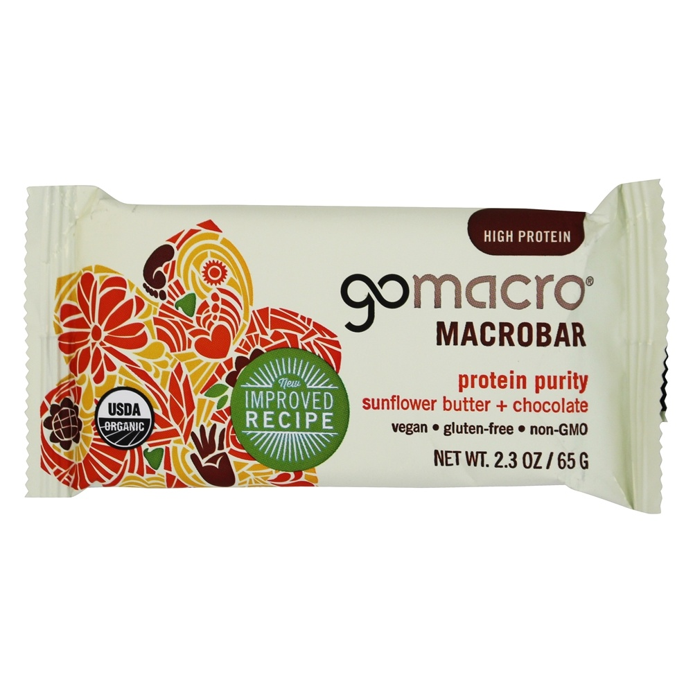 GoMacro - Organic MacroBar Protein Purity Sunflower Butter & Chocolate - 2.3 oz.