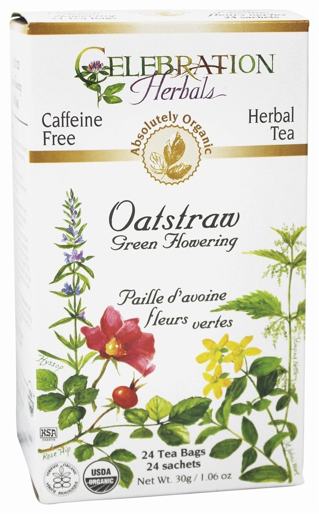 Celebration Herbals - Organic Caffeine Free Oatstraw Green Flowering Herbal Tea - 24 Tea Bags
