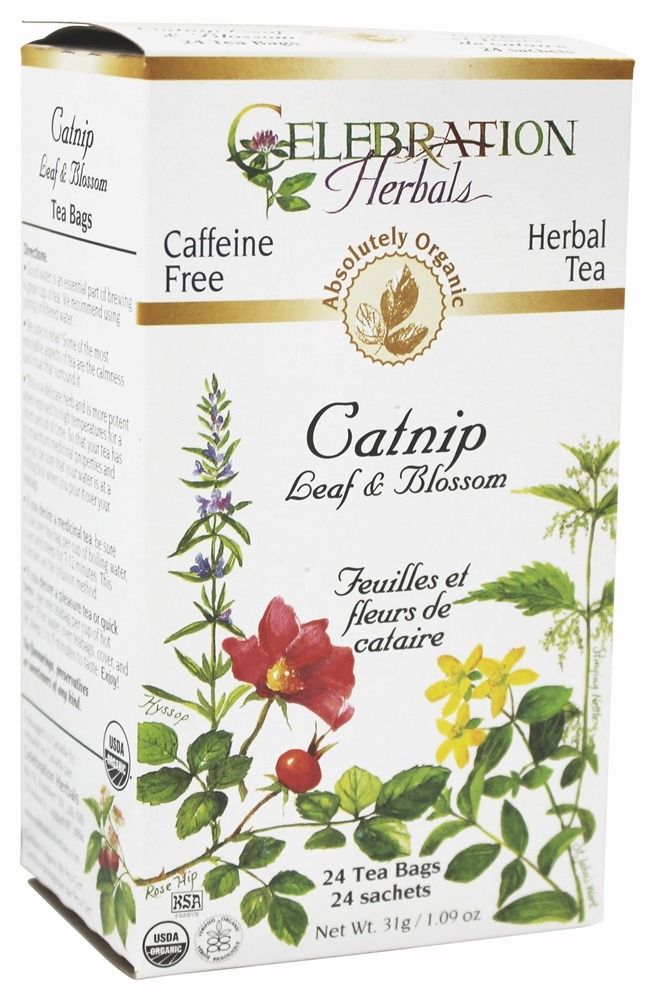 Celebration Herbals - Organic Caffeine Free Catnip Leaf & Blossom Herbal Tea - 24 Tea Bags