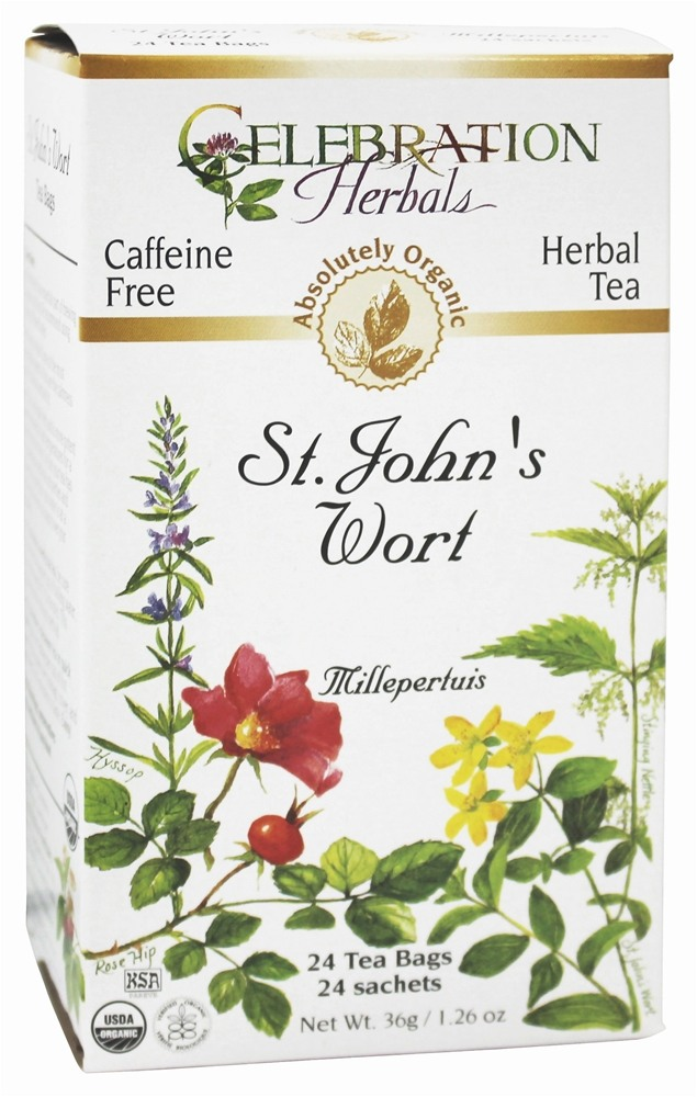 Celebration Herbals - Organic Caffeine Free St. John's Wort Herbal Tea - 24 Tea Bags