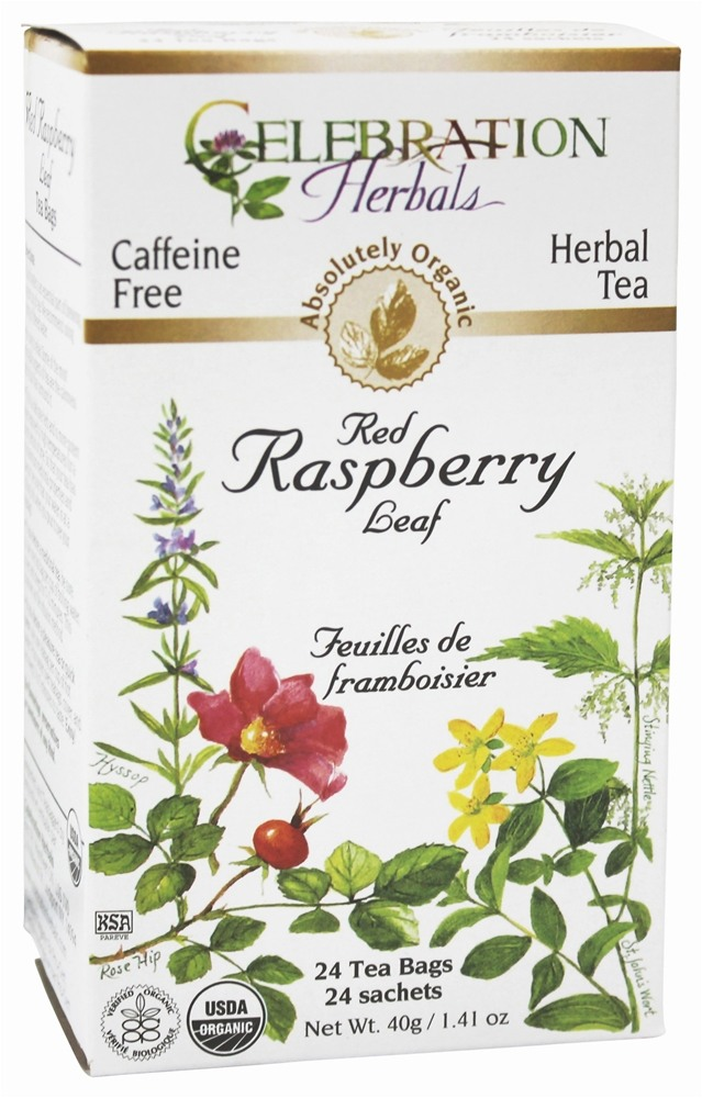 Celebration Herbals - Organic Caffeine Free Red Raspberry Leaf Herbal Tea - 24 Tea Bags
