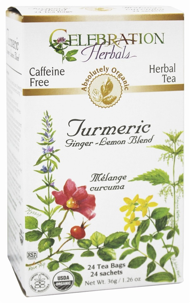 Celebration Herbals - Organic Caffeine Free Turmeric Ginger-Lemon Blend Herbal Tea - 24 Tea Bags