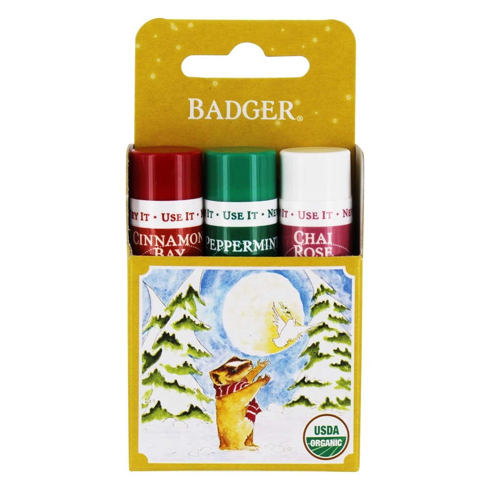 Badger - Limited Edition Classic Lip Balm Holiday Gift Pack - 3 x 0.15 oz.