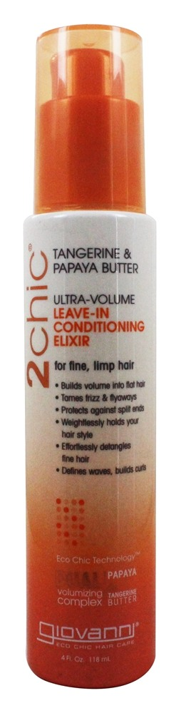 Giovanni - 2Chic Tangerine & Papaya Butter Ultra-Volume Leave-In Conditioning Elixir - 4 oz.