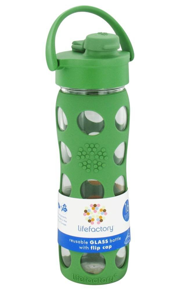 Lifefactory - Glass Beverage Bottle With Silicone Sleeve and Flip Top Cap Grass Green - 16 oz.