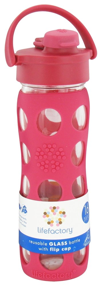 Lifefactory - Glass Beverage Bottle With Silicone Sleeve and Flip Top Cap Raspberry - 16 oz.