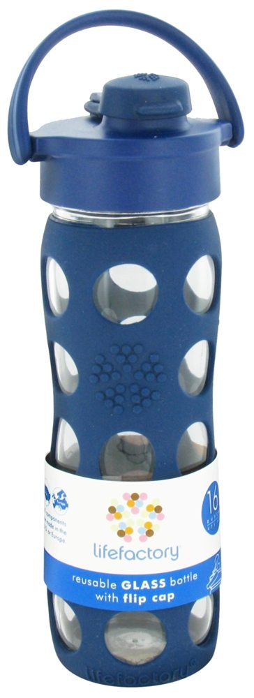 Lifefactory - Glass Beverage Bottle With Silicone Sleeve and Flip Top Cap Midnight Blue - 16 oz.