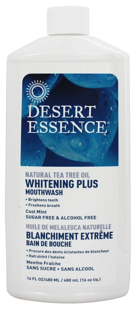 Desert Essence - Natural Tea Tree Oil Whitening Plus Mouthwash Cool Mint - 16 oz. LUCKY PRICE