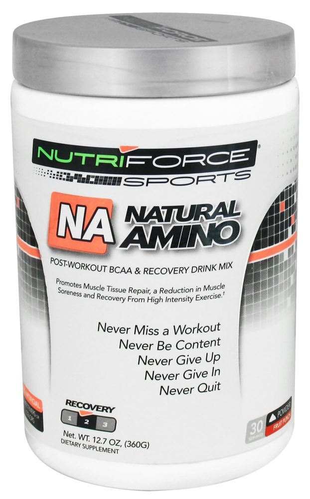 NutriForce Sports - Natural Amino Post Workout BCAA Powder Recovery Drink Mix Fruit Punch - 12.7 oz.