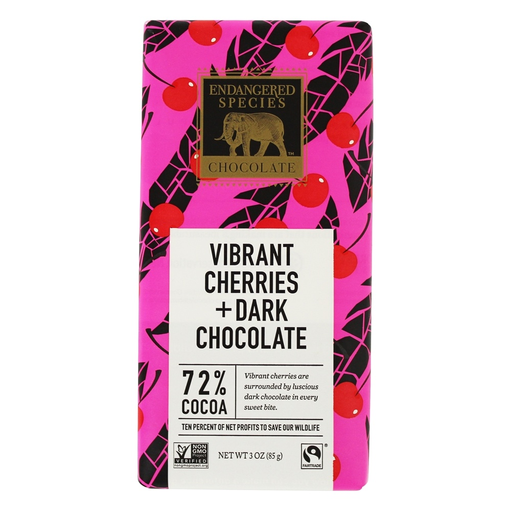 Endangered Species - Dark Chocolate Bar with Cherries 72% Cocoa - 3 oz.