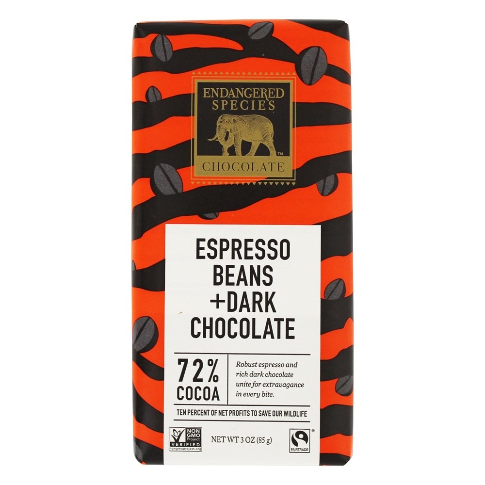 Endangered Species - Dark Chocolate Bar with Espresso Beans 72% Cocoa - 3 oz.