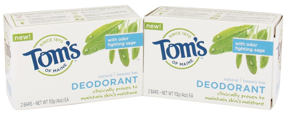 Tom's of Maine - Natural Beauty Bar Deodorant - 2 Bars x 4 oz.