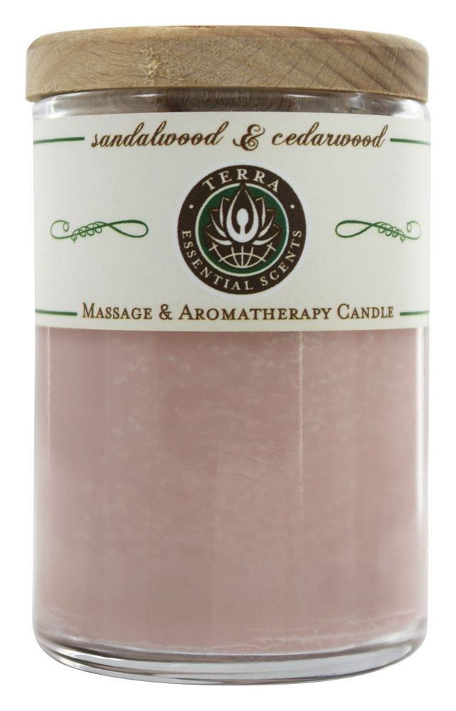 Terra Essential Scents - Massage & Aromatherapy Soy Candle Sandalwood & Cedarwood - 2.5 oz.