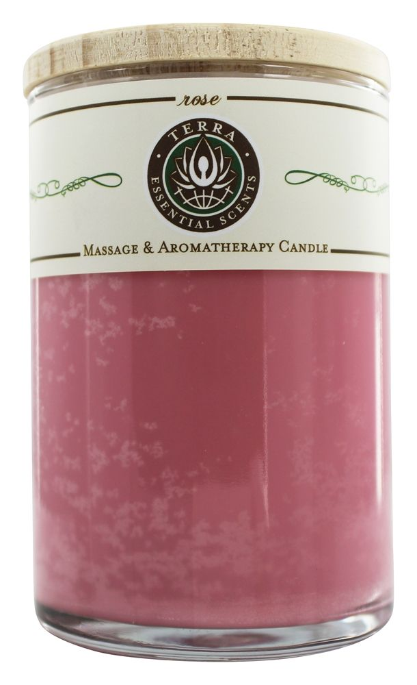 Terra Essential Scents - Massage & Aromatherapy Soy Candle Rose - 12 oz.