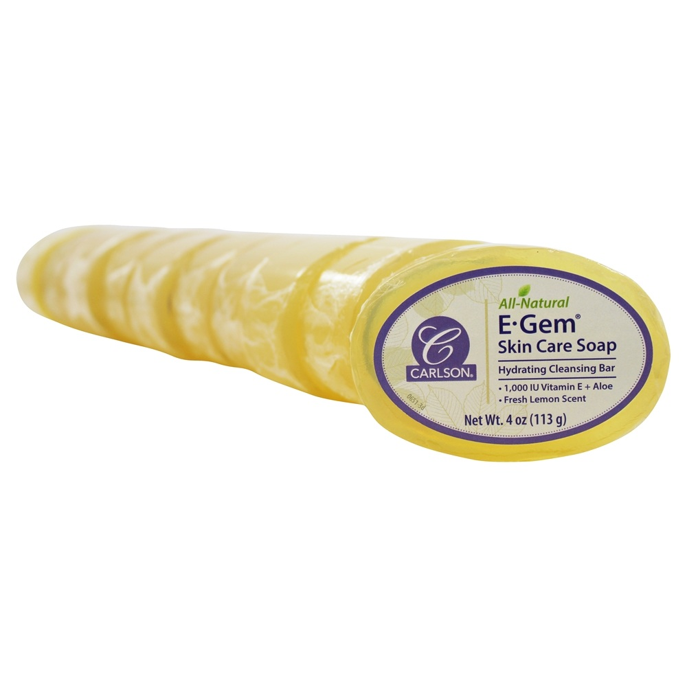 Carlson Labs - E-Gem Soap with Aloe Vera & Vitamin A & E 1000 IU - 10 x 4 oz. Bars