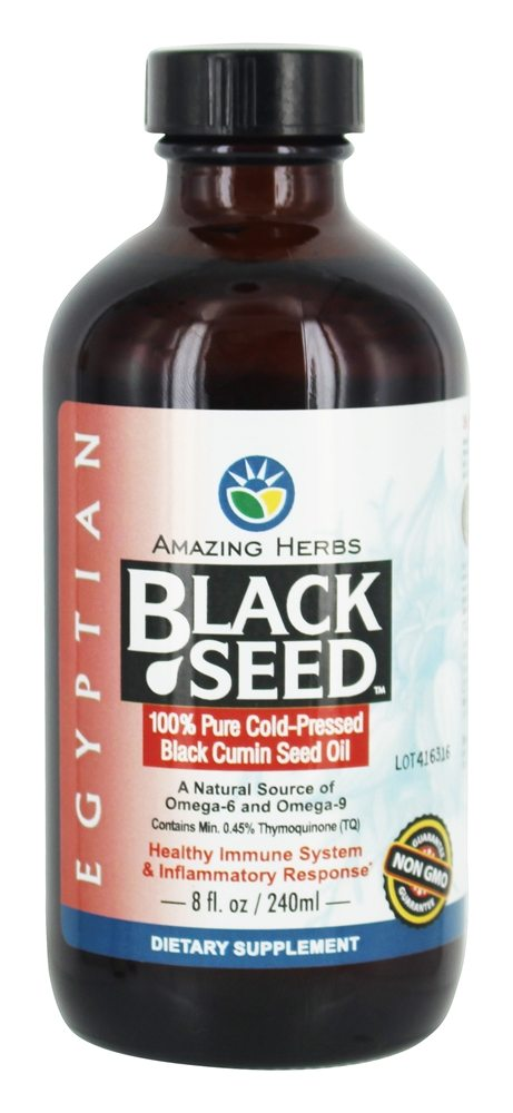 Amazing Herbs - Egyptian Black Seed Cold-Pressed Oil - 8 oz.