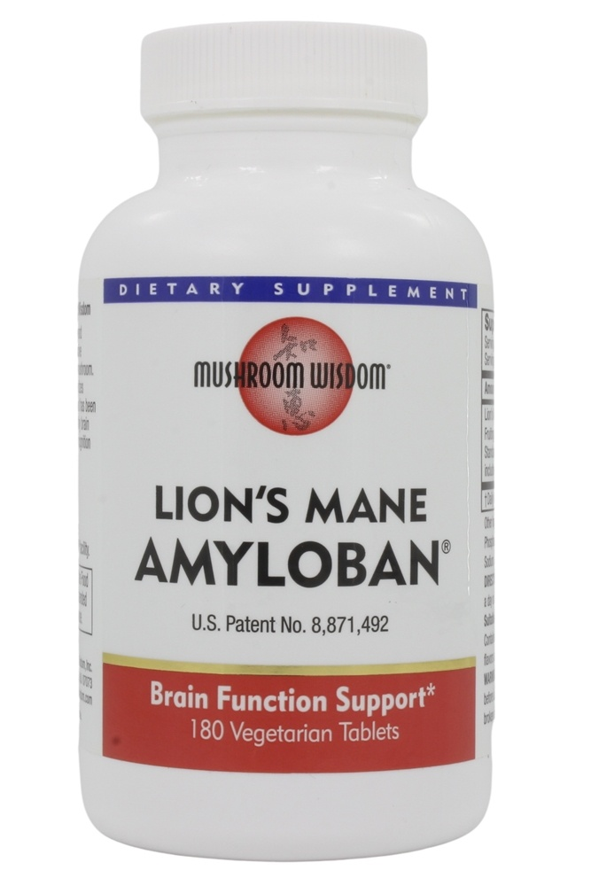 Mushroom Wisdom - Amyloban 3399 from Lion's Mane - 180 Vegetarian Tablets