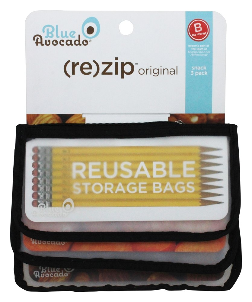 Blue Avocado - (Re)Zip Snack Reusable Storage Bags Black Solid - 3 Pack