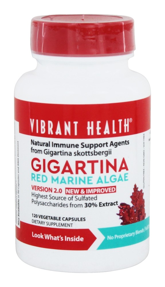 Vibrant Health - Gigartina Red Marine Algae - 120 Vegetarian Capsules