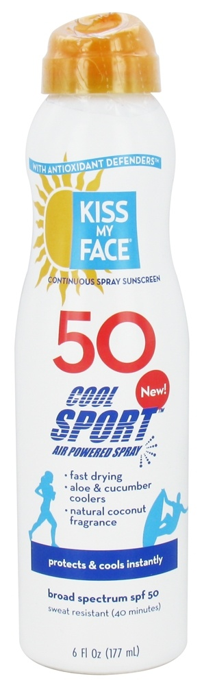 Kiss My Face - Cool Sport Sunscreen with Any Angle Air Powered Spray 50 SPF - 6 oz.