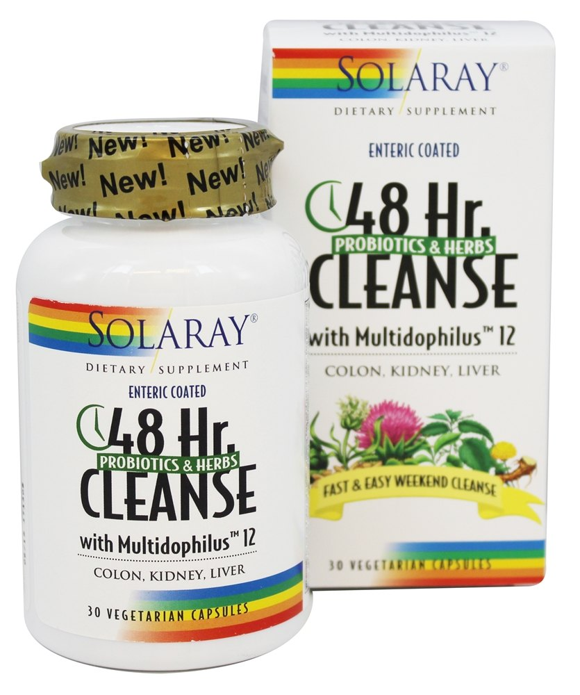 Solaray - 48 Hour Cleanse with Multidophilus 12 Probiotics & Herbs - 30 Vegetarian Capsules