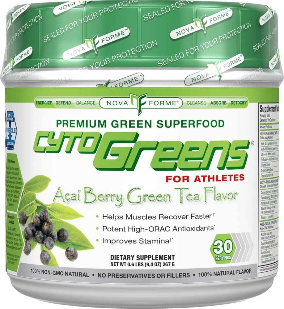 NovaForme - CytoGreens for Athletes Premium Green Superfood Acai Berry Green Tea Flavor - 0.6 lbs.
