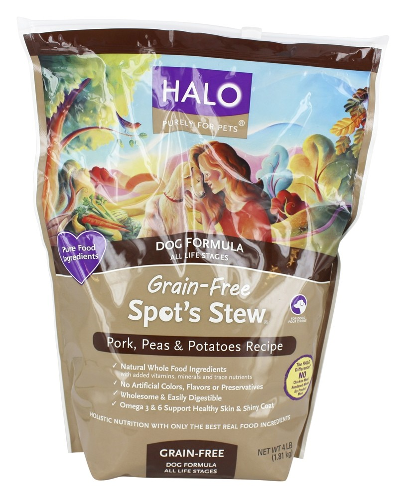 Halo Purely for Pets - Spot's Stew Grain-Free Dog Formula All Life Stages Pork Peas & Potatoes - 4 lbs.