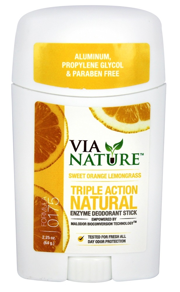 Via Nature - Triple Action Natural Enzyme Deodorant Stick Sweet Orange Lemongrass - 2.25 oz.