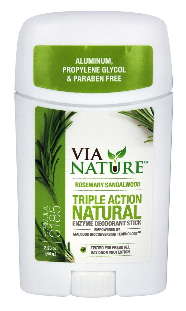 Via Nature - Triple Action Natural Enzyme Deodorant Stick Rosemary Sandalwood - 2.25 oz.