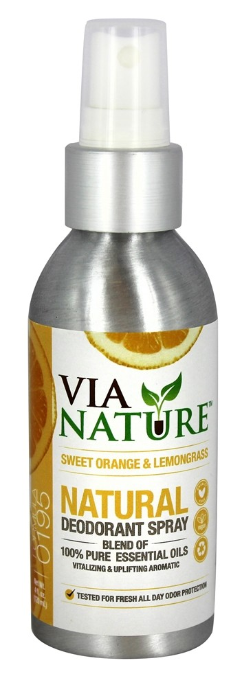 Via Nature - Natural Deodorant Spray Sweet Orange Lemongrass - 4 oz.