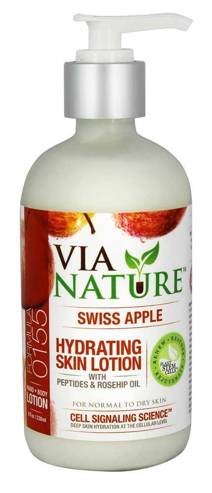 Via Nature - Skin Lotion Hydrating with Peptides & Rosehip Oil Swiss Apple - 8 oz.