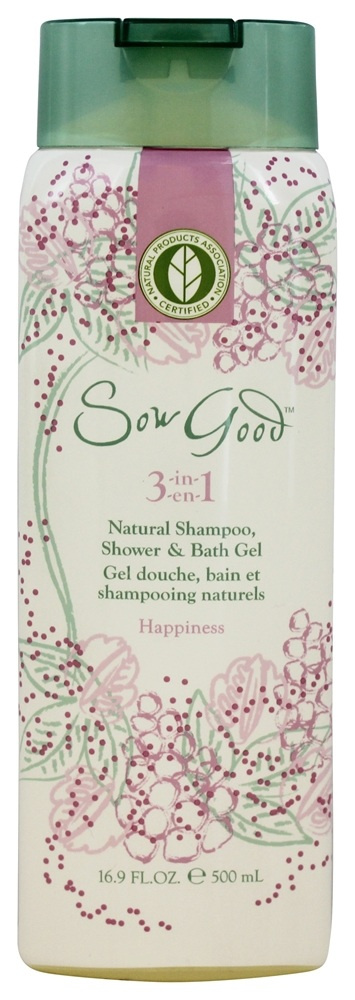 Sow Good - 3 in 1 Natural Shampoo, Shower & Bath Gel Happiness - 16.9 oz.