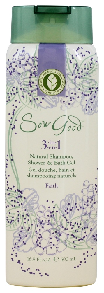 Sow Good - 3 in 1 Natural Shampoo, Shower & Bath Gel Faith - 16.9 oz.