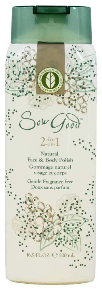 Sow Good - 2 in 1 Natural Face & Body Polish Gentle Fragrance Free - 16.9 oz.