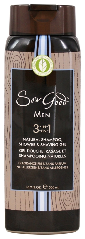 Sow Good - Men 3 in 1 Natural Shampoo, Shower & Shaving Gel Fragrance Free - 16.9 oz.
