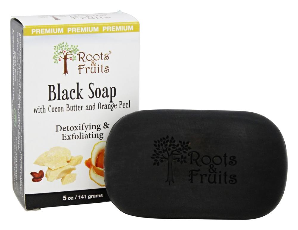 Roots & Fruits - Black Soap with Cocoa Butter & Orange Peel Detoxifying & Exfoliating - 5 oz.