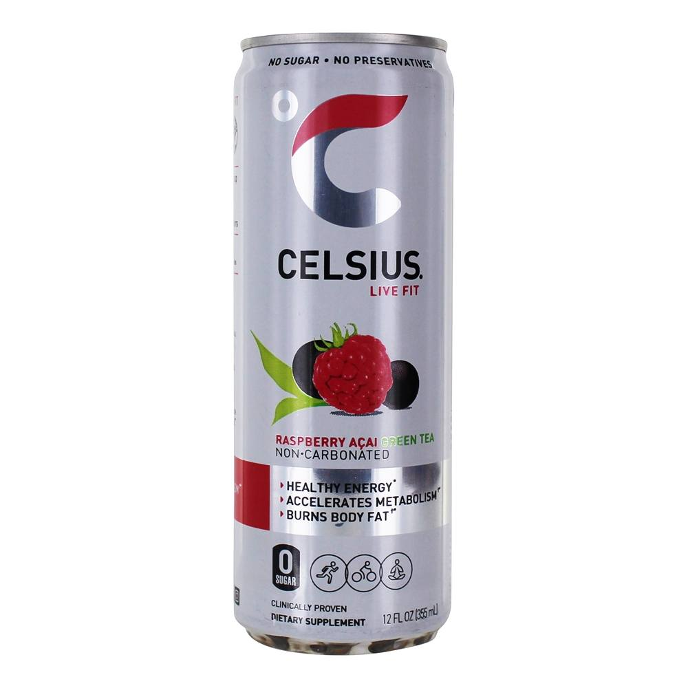 Celsius - Burn More Calories Plus Lasting Energy Green Tea with Raspberry Acai - 12 oz.