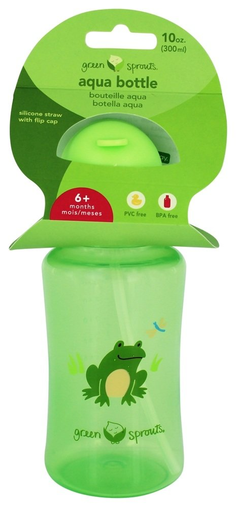 Green Sprouts - Aqua Bottle with Flip Cap & Silicone Straw for 6 Months+ Green - 10 oz.