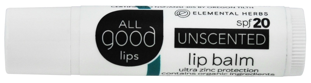 Elemental Herbs - All Good Lips SPF 20 Lip Balm Unscented - 4.25 Gram(s)